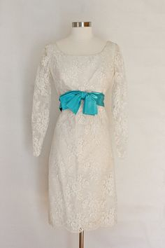White Lace Wedding Gown Dress  Blue Bow Long by SalvatoCollection, $187.65