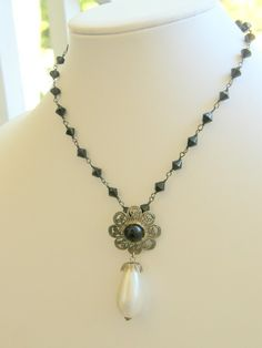 Knight Fall Vintage Recycled  Necklace Jewelry by Camelotjewels, $15.00