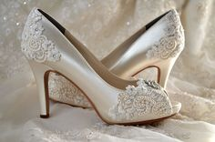 "Wedding Shoes - Custom 120 Color Choices- PB525A Vintage Wedding Lace Peep Toe 3 1/4"" Heels, Women's Bridal Shoes on Etsy, £109.97"