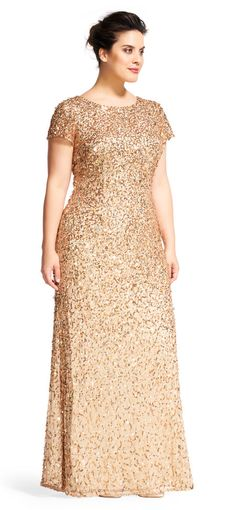 Scoop Back Sequin Gown Adrianna Papell Gala Dresses, Formal Dresses, Brides Mom Dress, Simple Gowns, Gold Bridesmaid Dresses, Moda Plus, Sequin Gown, Plus Size Fashion For Women, Special Occasion Dresses