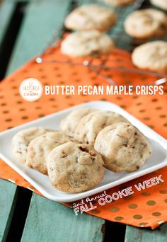 Butter Pecan Maple Crisps | Inspired by Charm #IBCFallCookieWeek  -  cookies, nuts, almond extract, nutmeg, maple syrup, etc.  sounds good, want.     lj