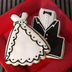 Tuxedo and Wedding Dress Cookie by Beau-coup
