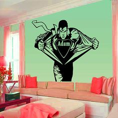 FOR IAN.. To COOL>>Superman, spider man, Decal, mural, vinyl, stickers, self adhesive, + kids Name  for £7.99
