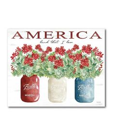 Courtside Market America Flowers Wrapped Canvas | Zulily How To Wrap Flowers, Canvas Designs, Showcase Design, Wrapped Canvas, Patches, Invitations, America, Display