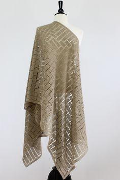 Steve Rousseau Designs • Fedde Rectangular Shawl • Crochet Pattern • Shibui Knits Pebble Caffeine