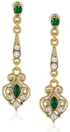 Downton Abbey Jeweled Heirlooms Boxed Gold-Tone Edwardian Filigree Linear Emerald Navettes Drop Earrings.......