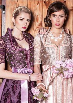 Bavarian Fashion, Designer Dirndl, Dirndl Victoria beere und sand