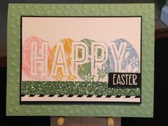 Easter Card - Stamps:  Craftsmart by Michaels (Egg), Simon Says Stamp Some Bunny - Stampin' Up Embossing Folders:  Celebrations Duo, Decorative Dots - Versamark Ink - Hero Arts White Embossing Powder - Stampin' Up Inks:  Bashful Blue, Mint Macaron, So Saffron, Pink Pirouette - Cardstock:  Stampin' Up Mint Macaron Glimmer, Stampin' Up Mint Macaron, The Paper Studio Heavy Weight Black
