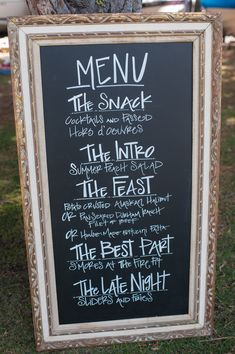 Archive Rentals Chalk Board Sign is a cute way to tell your guests what is on the dinner menu for your wedding!   Read More: http://www.stylemepretty.com/california-weddings/2014/04/21/elegant-outdoor-wedding-in-lake-tahoe/