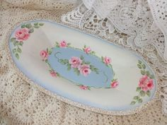 ROBIN BLUE ROSE TRAY ~ So PRETTY and available on eBay!!  artist d.sommers