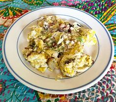 Scrambled Eggs with Rhubarb and Herbs | Laurie Constantino - Rhubarb is actually a vegetable and works very well in savory foods. Combining it with eggs is great for breakfast/brunch/lunch.