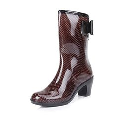 Jenssa Womens Bow Knot Antiskid Leopard Chunky Heel MidCalf Rain Boots 7 Coffee -- Find out more about the great product at the image link.