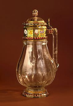 Jug   Rock crystal, gold, enamel and rubies; carved, ground and painted. H. 22.5 cm   Germany. Nuremberg . Early 17th century