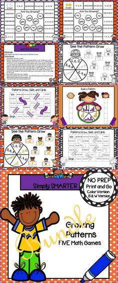 Are you looking for NO PREP math games for kindergarten, first, or second grade? Then download this product and go! Enjoy this patterning resource which is comprised of a color version and black and white version of FIVE DIFFERENT GROWING PATTERN games that can be used for small group work, partner collaboration, or homework! Kindergarten Math Games, Teaching Math, Teaching Ideas, Hands On Activities, Math Activities, Grade 1, Second Grade, Daily 3 Math, Educational Board Games
