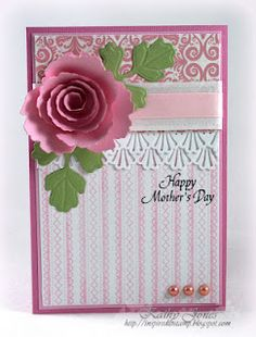 Mother's Day card using JustRite's Spring Words and Stitched Ribbon Background Stamps - by Kathy Jones