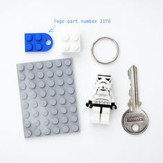 DIY LEGO keyholder, with notes on the exact LEGO part that you need to create the keyholder without drilling through any pieces