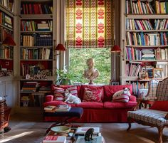 House Interior Design Ideas - Locate the best interior decoration ideas & inspiration to match your style. Browse through pictures of embellishing ideas & room colours to create your best home. Cozy Home Library, Home Library Design, Library Room, Home Interior Design, House Design, Library Ideas, Living Spaces, Living Room, Cozy Living
