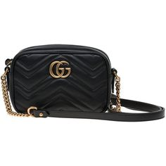 Gucci Gg Marmont Matelasse Mini Bag (4.820 DKK) ❤ liked on Polyvore featuring bags, handbags, shoulder bags, black, real leather purses, gucci handbags, chain strap handbags, mini handbags and mini purse