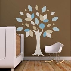 Leafy Tree Blue Fabric Wall Decal - $124.95 - Bring the beauty of nature inside with this modern and playful wall decal featuring a beautiful leafy tree. This kid friendly fabric wall decal is perfect for the modern nursery or toddler room decor #sweetcreations #kids #baby #boys #bedroom #nursery #decor #walldecal #TrendyPeas