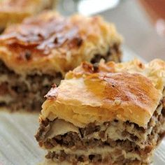 Rokak (رقاق ) ,  The Rokak sheets are usually a little thicker than the filo dough sheets, hence the reason they are dipped in broth before being spread out in the baking pan filled with cooked ground beef and then into the oven till golden and crisp, a traditional dish on the eid el adha Menu!!