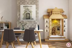 Pooja room designs on wall. Standalone and wall mounted pooja cabinets for small apartments in wood. Modern pooja room designs in glass. Small Rooms, Small Spaces, Small Apartments, Temple Design For Home, Mandir Design, Pooja Mandir, Pooja Room Door Design, Bedroom Cupboard Designs, Indian Interiors