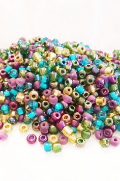 Seed Beads Supplies  Peacock Seed Beads  by VickysJewelrySupply