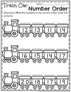 Number Worksheets for Kindergarten - Train Car Number Order