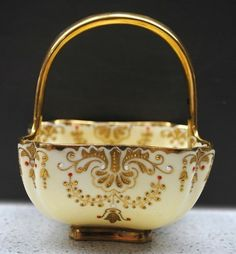 """Proudly offerred to you by JDL Antiques. Follow us on Facebook, under """"JDL Antiques"""" to keep updated on new items, item photos and discount offers. Rare Antique Coalport gilded and jewelled handled m"""