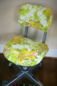 Have done this with my desk chair, using material left over from making the curtains.