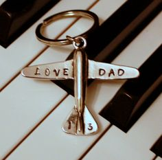 Love Dad key chain, Airplane key chain, aviation,choose your own letters,hand stamped, personalized gift, For Dad, grandpa, anyone