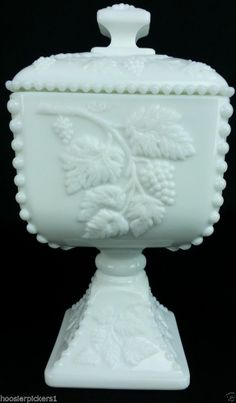 Westmoreland paneled grape covered Footed candy jar milk White glass signed