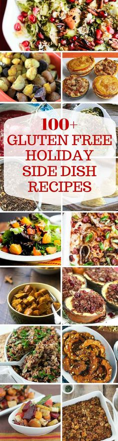 100+ GLUTEN FREE HOLIDAY SIDE DISH RECIPES - Tons of gluten-free holiday side dish recipes, including stuffing, sweet potato casseroles, green bean casserole, gratins, salads and gravy ~ http://jeanetteshealthyliving.com