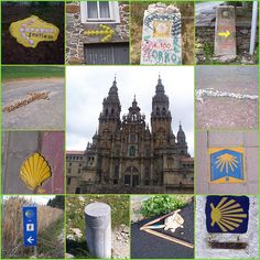 El Camino de Santiago...cool image of the path markers and the main church
