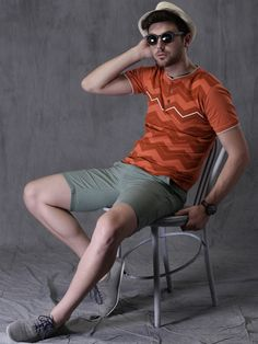 WROGN Orange & Red Printed Henley T-shirt
