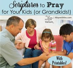 If you wonder how to pray for your children, these 12 scriptures to pray for your kids will help you to pray over them completely--includes free downloads!