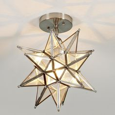 Moravian Star Ceiling Light - Billy needs to see this 1 & if it works either in upstairs hallway or masterbath above sink area.