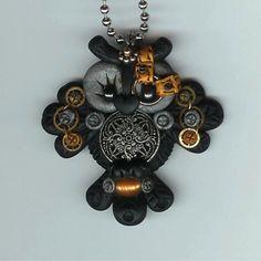 Steampunk  Black Hooty Owl Necklace Polymer Clay Jewelry