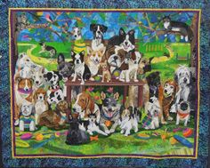 """""""Sunday in the Park with Mittens"""", 58 x 47,  by Nancy S. Brown. Featured artist, 2013 DVQG, photo by Quilt Inspiration.  There are 28 dogs (and one cat) in this quilt."""