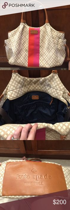Kate Spade diaper bag (or large bag) This is a Kate Spade diaper bag that can also be used as a large bag. Please note ***diaper pad not included*** Pretty tan and cream woven exterior fabric with the classic spade pattern. Strip on the front is bright pink and bright orange. Leather trim is a complimentary brown to the tan, and a little darker. Interior is navy blue. 6 interior pockets and 2 outside pockets on either end. Bottom is leather and in perfect condition. kate spade Bags Baby Bags
