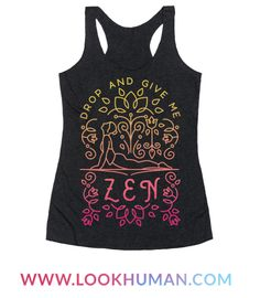 Get ready for yoga class with this cute zen and floral workout shirt.
