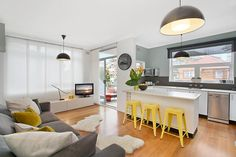Grey and white kitchen with yellow accents... Guest house!!!