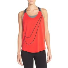 Nike 'Elastika' T-Back Tank ($35) ❤ liked on Polyvore featuring tops, red tank, swim tank, loose tank, nike and loose fitting tank tops