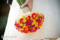 bright colors, especially oranges, pinks and yellows, are big 2012 wedding trends!