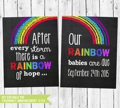Rainbow Babies Twin Pregnancy Announcement Chalkboard // Pregnancy Reveal after a loss // Twins announcement // PDF you edit w/ADOBE READER   #announcement #RainbowAnnouncement #Pregnancy #RainbowPregnancy #PregnancyChalkboard #NewBaby #PhotoProp #RainbowBaby #PregnancyAfterLoss #RainbowBabySign