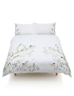 Buy the Botanical Embroidered Bedding Set from Marks and Spencer's range. Cotton Bedding Sets, Linen Bedding, Bed Linens, Comforter Sets, Home Tex, Embroidered Bedding, Stylish Beds, White Sheets, New Beds