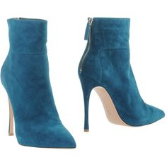 Gianvito Rossi Ankle Boots ($450) ❤ liked on Polyvore featuring shoes, boots, ankle booties, deep jade, stiletto boots, zipper boots, leather boots, stiletto booties and genuine leather boots