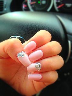 diamond Nail Designs | nails #diamond nails #pink nails #crystal nails #shellac nails #nails ...