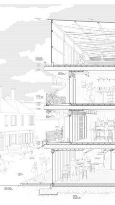 Architectural Perspective Detail Section of Surbiton Works : Part 2 Thesis Proje. - Architectural Perspective Detail Section of Surbiton Works : Part 2 Thesis Project from Kingston Un - Zaha Hadid Architecture, Cantilever Architecture, Le Corbusier Architecture, Architecture Drawing Plan, Architecture Durable, Architecture Drawing Sketchbooks, Architecture Graphics, Green Architecture, Sustainable Architecture