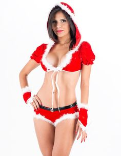 Womens Hooded Christmas Lingerie Party Stage Dance Wear Costume