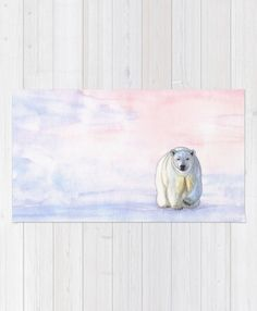 """""""Polar bear in the icy dawn"""" Rug by Savousepate on Society6 #rug #homedecor #polarbear #rosequartz #serenity #pink #blue #white #pantonecolors2016 #pastelcolors #watercolorpainting"""